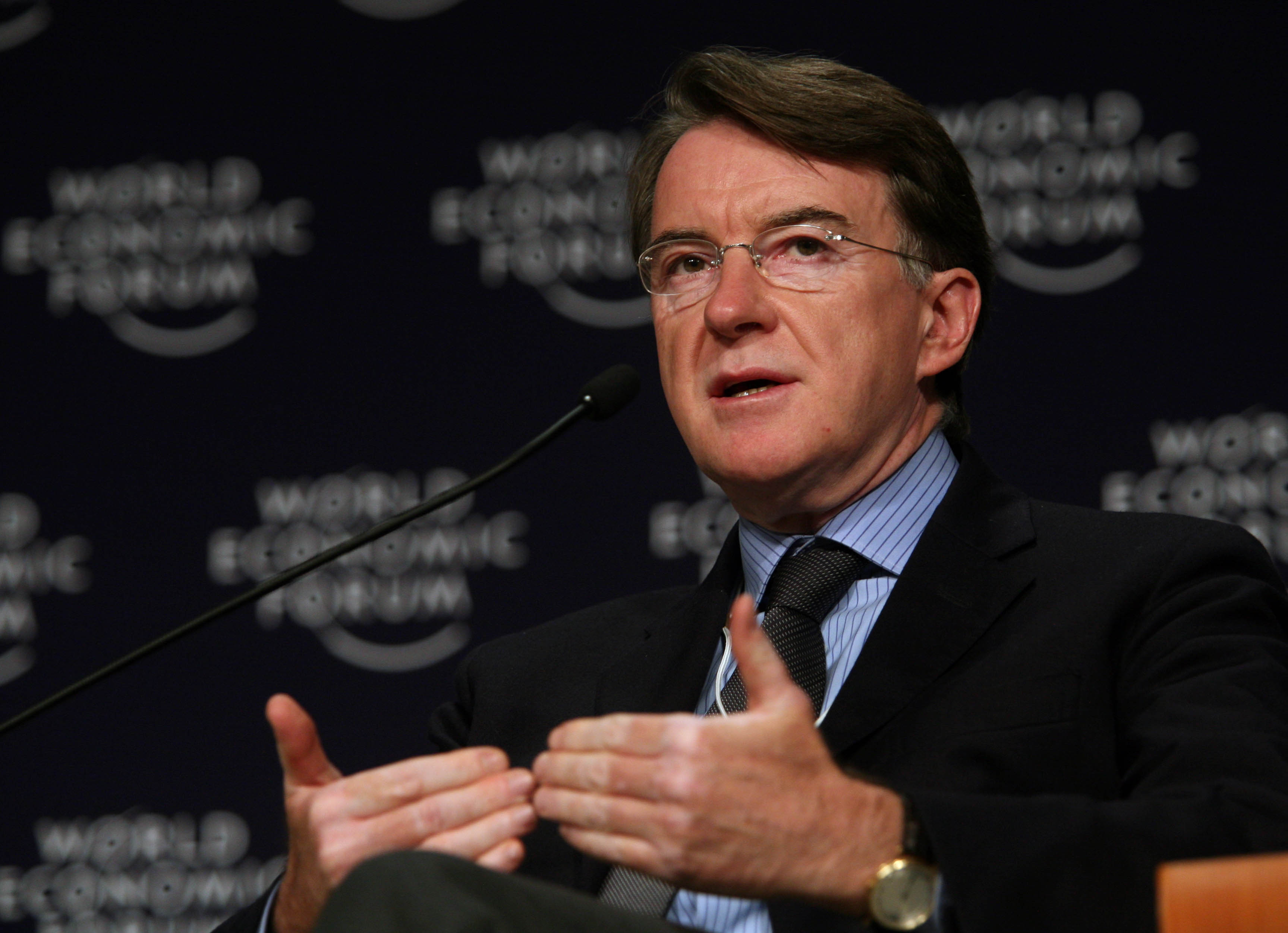 TIANJIN/CHINA, 27SEPT08 - Peter Mandelson, Commissioner, Trade, European Commission speaks at the The Global Economic Outlook plenary session at the World Economic Forum Annual Meeting of the New Champions in Tianjin, China 27 September 2008. Copyright World Economic Forum (www.weforum.org)/Photo by Natalie Behring